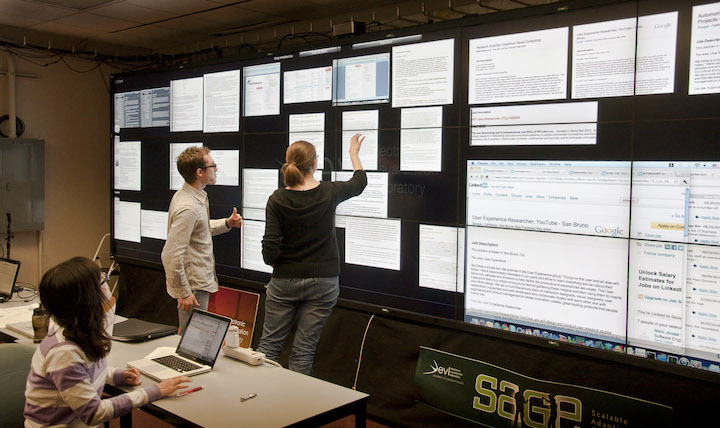 My research on how co-located collaboration changes in large, high-res display environments that allow simultaneous interaction...