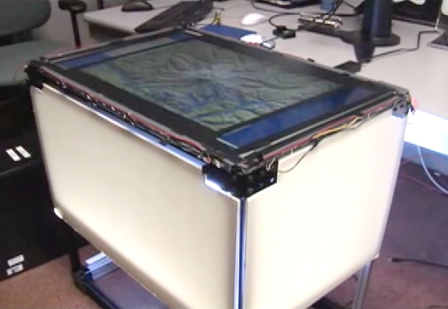 A first attempt to build an FTIR-based multi-touch table out of an LCD display (this was back in 2008!). At the time, tables were usually rear-projected.